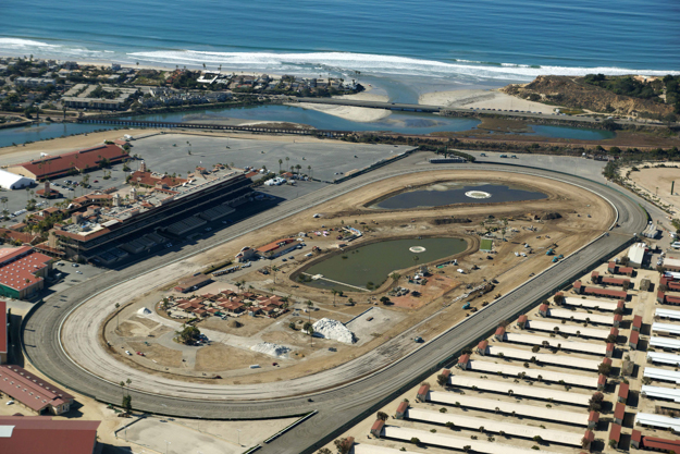 Aerial view of reconstuction of the turf course at Del Mar. Photo: Lenska Aerial Images.