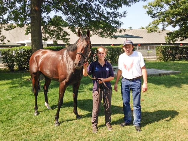 Gai Waterhouse-trained Pornichet at Belmont Park with exercise rider Rodney Paine and Rachel King. Photo: Rob Waterhouse.