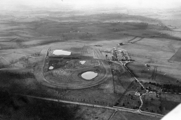 Aerial photo of Keeneland in 1935 showing Jack Keene's track, barn, and training track. Photo: Keeneland Library.