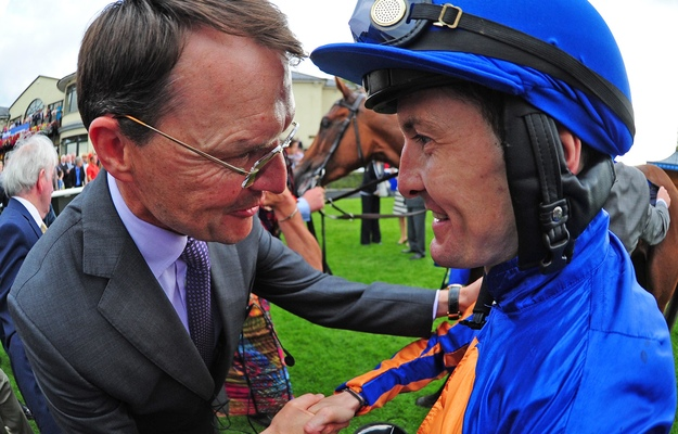 Aidan O'Brien and Colm O'Donoghue after winning the Darley Irish Oaks with Bracelet. RacingFotos.com