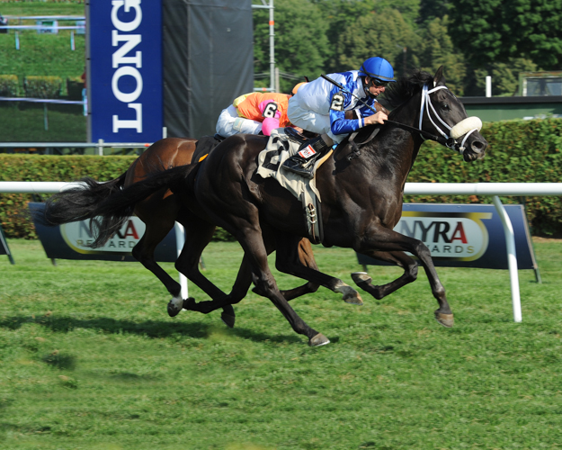 Analysis and jockey Corey Lanerie win an allowance race at Saratoga on August 9, 2014. Photo: NYRA/Adam Coglianese