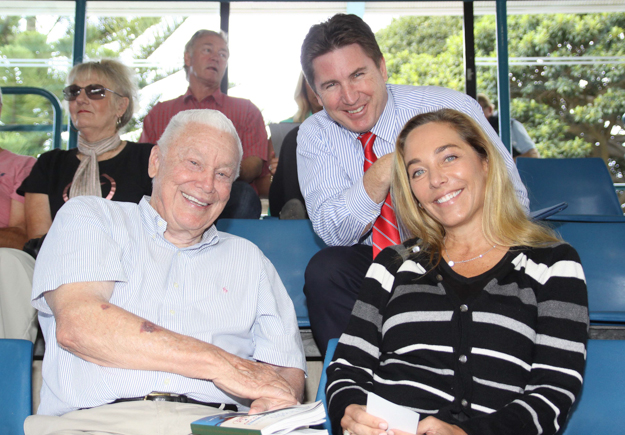 B. Wayne Hughes, Inglis managing director Mark Webster, and Patricia Whitcraft at the 2014 Easter sale.