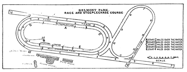 Belmont Park map from the New York Times on May 4, 1905.