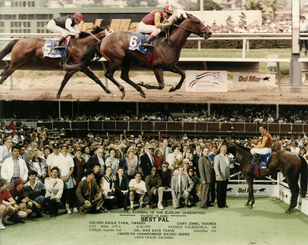Best Pal wins the 1991 Pacific Classic at Del Mar. Photo: Del Mar Thoroughbred Club.