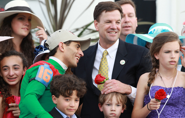 Motion, jockey John Velazquez, and connections in the winner's circle after the 2011 Kentucky Derby. Photo: RacingFotos.com