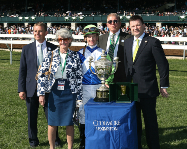 Arnaud Delacour, Gretchen Jackson, Julien Leparoux, Roy Jackson, and Coolmore's Dermot Ryan after Divining Rod's win in the Coolmore Lexington Stakes. Photo: Coady Photography