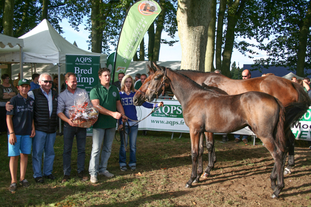 Top filly at Decize in Aug. 2014, a Lord du Sud - Kadalko filly bred by Jean-Marie Callier (holding basket), French agent to Three Chimneys. Photo: Laurence Salphati.