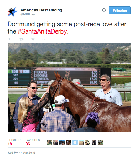 Fojac pats Dortmund after the Santa Anita Derby. Tweet from @ABRLive