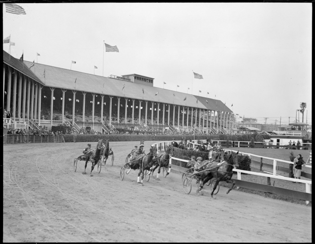 Harness racing at Brockton Fair racetrack in the 1930s. Photo provided by the Boston Public Library.