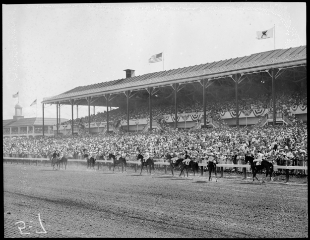 Rockingham Park's grandstand. Photo provided by the Boston Public Library.