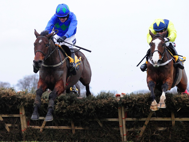 Hurricane Fly and Ruby Walsh (left) clear the last hurdle to win the Ryanair Hurdle in 2013, Hurricane Fly's 18th G1 win. Photo: Healy Racing/RacingFotos.com