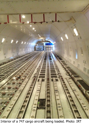 Interior of a 747 cargo aircraft being loaded. Photo: IRT