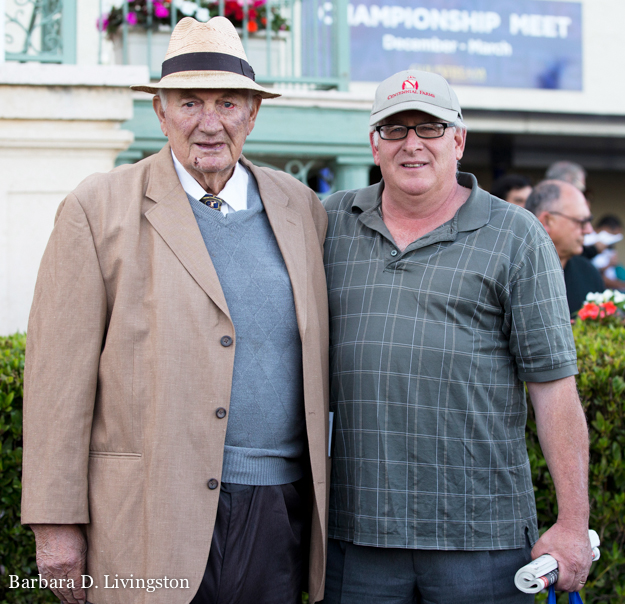 Allen Jerkens with son Jimmy Jerkens at Gulfstream Park in January 2015. Photo: © Barbara D. Livingston.
