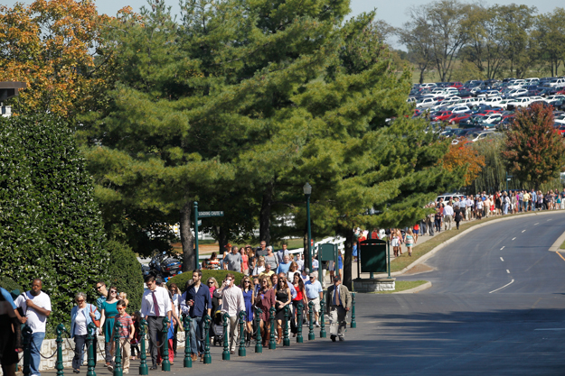 Racegoers walk from The Hill to the entrance. Photo: Keeneland.