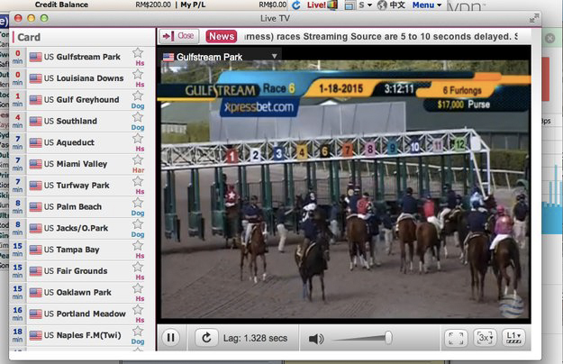 A live stream of Gulfstream Park shown on one of the Philippines-based exchanges.