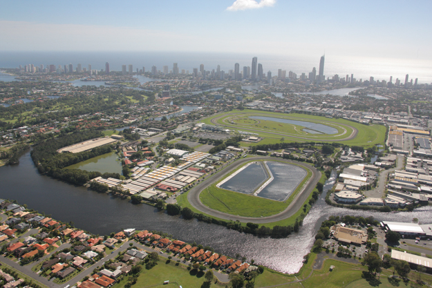 The Magic Millions racetrack and sales complex, with the famous Gold Coast skyline in the background. Photo: Magic Millions.