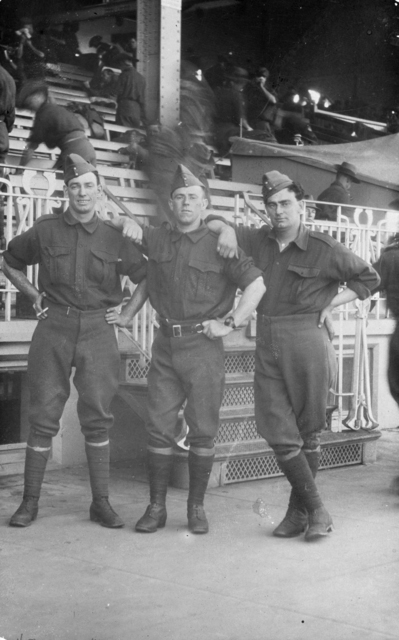 New recruits standing in front of one of Randwick's stands.  Photo courtesy Australian War Memorial