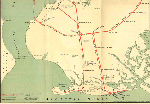 1894 map showing the three Brooklyn tracks and the railways serving them. Image via Art Huneke.