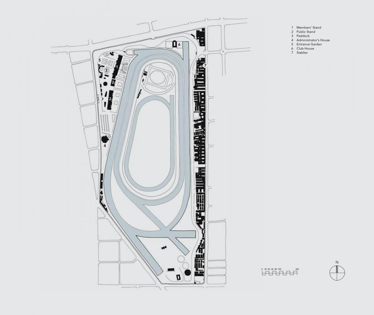Present-day plan of the racecourse. Image via Turnberry Consulting
