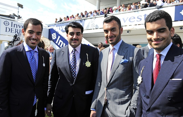 Left to right: Qatar Racing's Sheikh Fahad, Sheikh Hamad, Sheikh Suhiam, and Sheikh Khalifa at Epsom. Photo: Healy Racing/RacingFotos.com