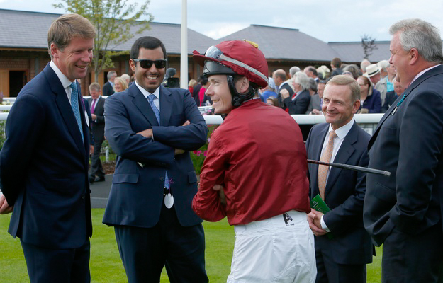 From left to right: David Redvers, Sheikh Fahad, Jamie Spencer, Kevin Darley, and Peter Chapple-Hyam at York. Photo: Dan Abraham/RacingFotos.com