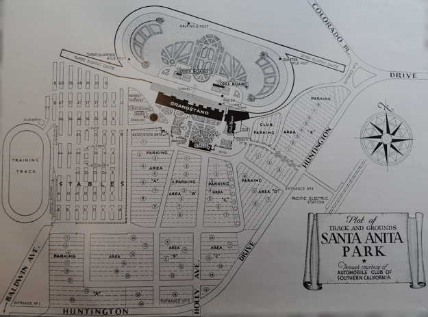 Santa Anita was comprehensively planned. Provision was made for car parking on an unprecedentedly large scale. Plan via the Santa Anita Press Book 1940-41.