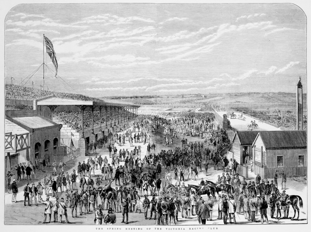 Spring meeting at Flemington in 1877. Bagot's Cowshed is shown on the left. Photo via State Library of Victoria.