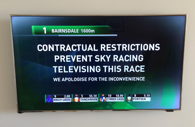 The breakdown of negotiations between TVN and Sky Racing resulted in this for digital subscribers in December 2014.