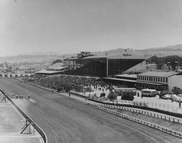 Tanforan Race Track, photographed c.1953, the decade before its closed its doors for the last time. Image via San Bruno Public Library