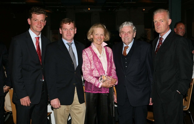 From left to right: Tom Mullins, Tony Mullins, Maureen Mullins, Paddy Mullins, and Willie Mullins. Photo: Healy Racing/RacingFotos.com
