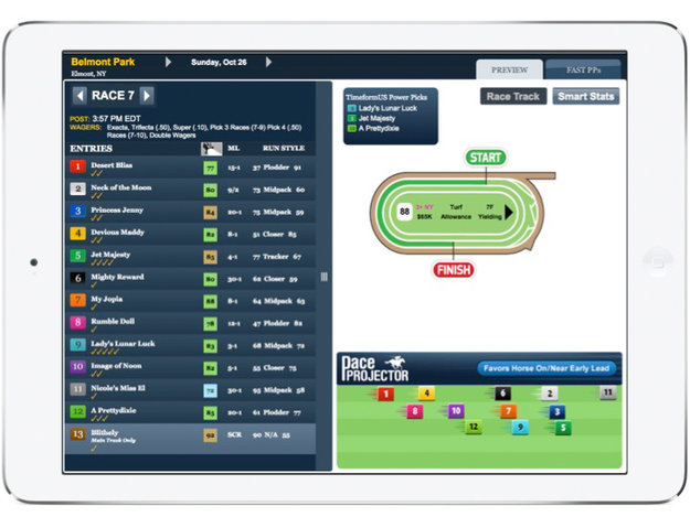 TimeformUS PPs from a race at Belmont Park shown on a tablet. Image provided by TimeformUS.