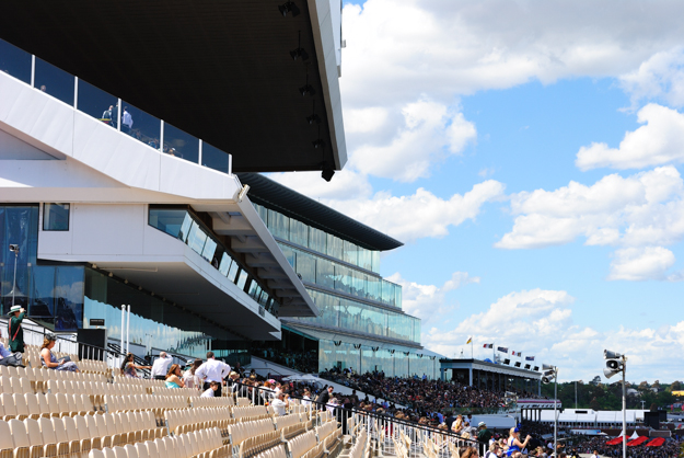 The current stands at Flemington: Hill Stand (foreground), Grandstand (middle), and Members' Stand (far). Photo: Isabelle Taylor.