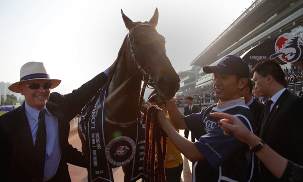 John Moore with Able Friend after winning the G1 Longines Hong Kong Mile in December 2014. Photo: HKJC