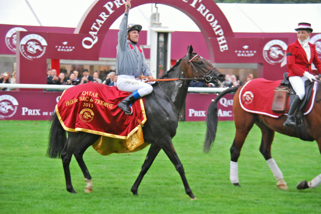 Treve and jockey Thierry Jarnet after winning the 2013 Arc. Photo: John Gilmore.