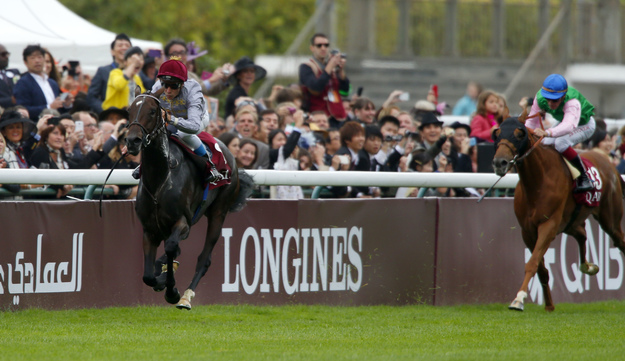 Treve and Thierry Jarnet win the 2014 Arc. Photo: RacingFotos.com