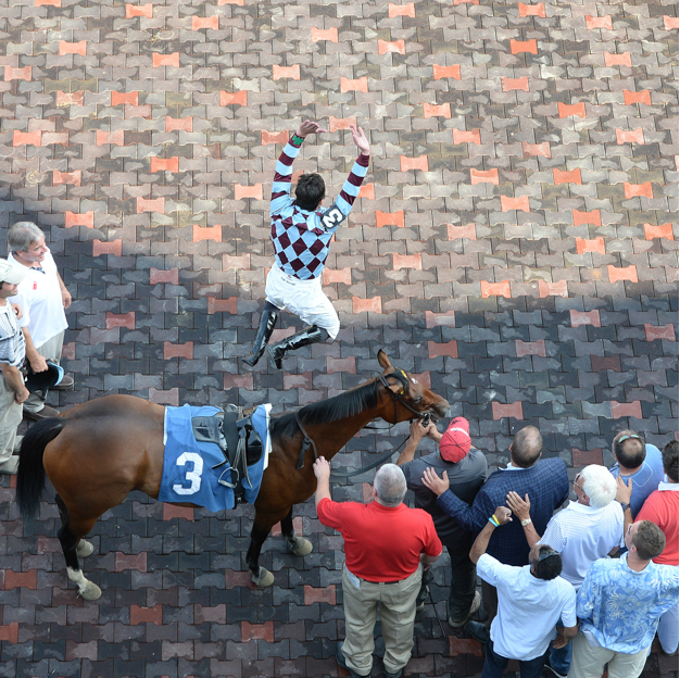 Frankie Dettori does his famous flying dismount after winning at Saratoga Race Course on the Wesley Ward-trained Aventure Love. Photo:NYRA/Susie Raisher