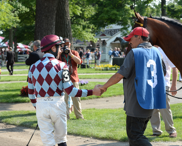 Frankie Dettori at Saratoga Race Course. Photo: NYRA/Susie Raisher.