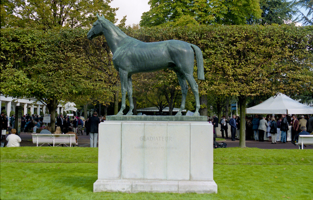 Gladiateur, the first foreign horse to win the English Triple Crown, stands at Longchamp. Photo: Mark Cranham/RacingFotos.com