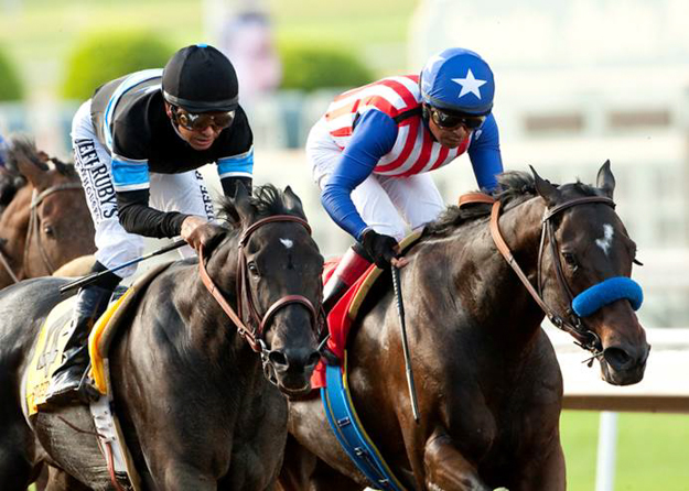 Shared Belief (left) beats Fed Biz by a neck in the G1 Awesome Again at Santa Anita on Sept. 27. Photo: Benoit Photo.