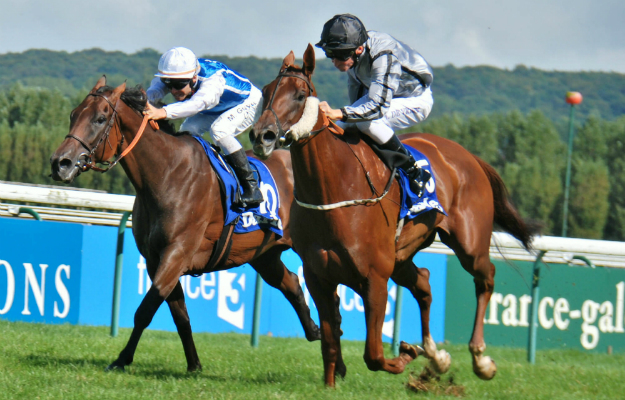 Odeliz (right) winning the Prix Jean Romanet at Deauville in August from Bawina. Photo: John Gilmore