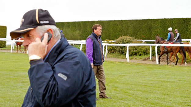 Richard Hannon, Sr. and Richard Hannon, Jr. at their yard. RacingFotos.com