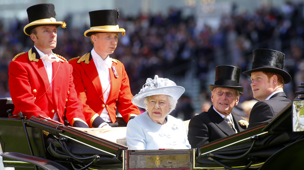 Queen Elizabeth II, Prince Philip, Duke of Edinburgh, and Prince Harry arrive at Royal Ascot on June 17, Opening Day. RacingFotos.com