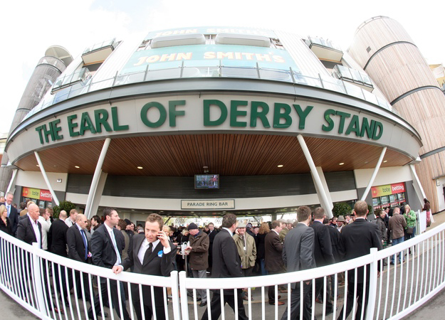 Earl of Derby Stand at Aintree Racecourse on Grand National day. RacingFotos.com