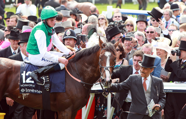 Workforce, with Ryan Moore up, and Khalid Abdullah after winning the 2010 Epsom Derby. RacingFotos.com