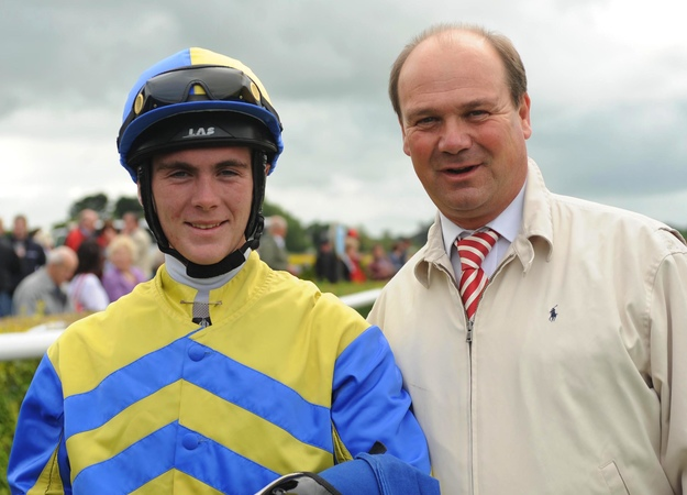 Jockey Gary Carroll and trainer Michael Halford at Tipperary Racecourse. RacingFotos.com