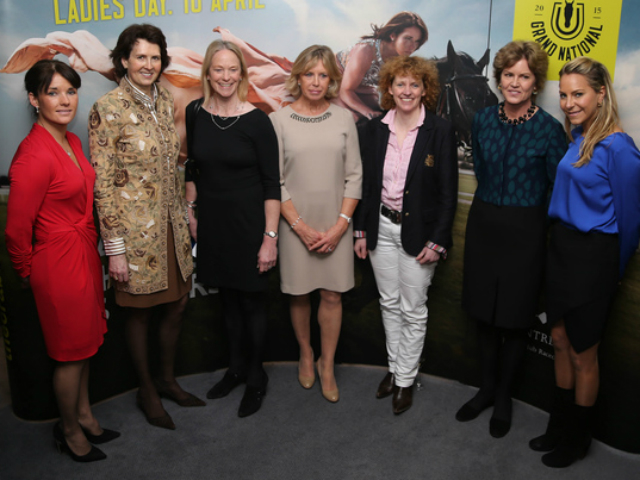 Leading figures in British and Irish racing, from left: jockey Katie Walsh, trainer Venetia Williams, trainer's wife Sarah Hobbs, owner and Grand National sponsor Judy Halewood, trainer Lucinda Russell, Aintree chair Rose Patterson and broadcaster Emma Spencer. Photo: John Grossick/Racingfotos.com