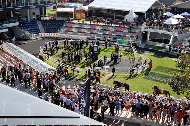 A crowd gathers near the paddock on the 2014 Longines Queen Elizabeth Stakes day at Royal Randwick Racecourse. Photo: Longines.