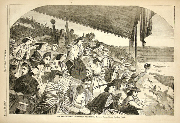 Illustration of Saratoga Race Course by Winslow Homer from an August 1865 edition of Harper's Weekly