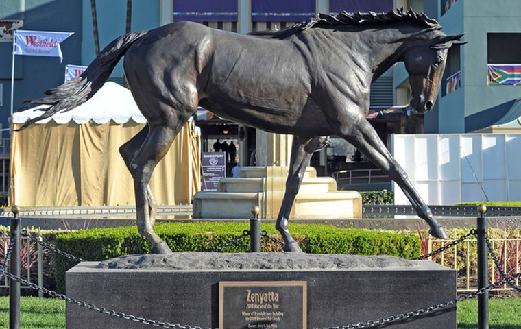 news article Horse statues jockey for position at Saratoga .