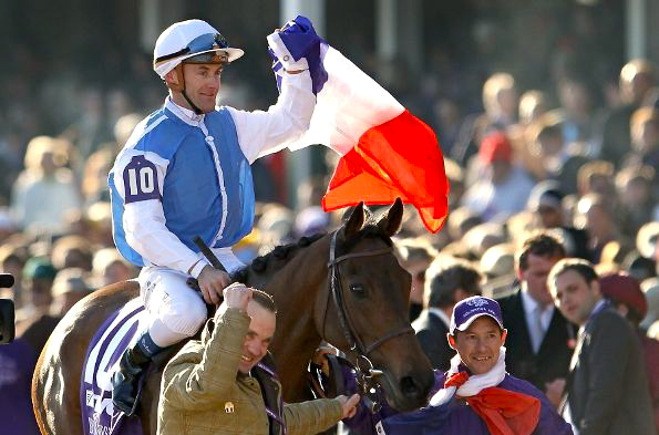 Peslier and Goldikova after winning the Breeders' Cup Mile in 2009. Photo: Isabel Mathew